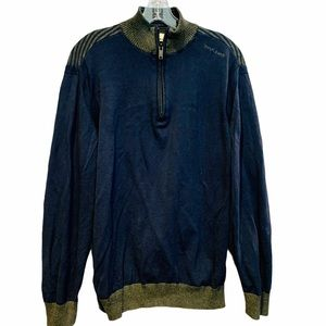 DKNY Navy & Green Elbow Patch Sweater